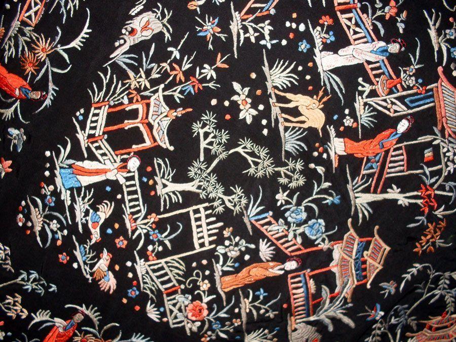 Mantón de manila negro Cantonés